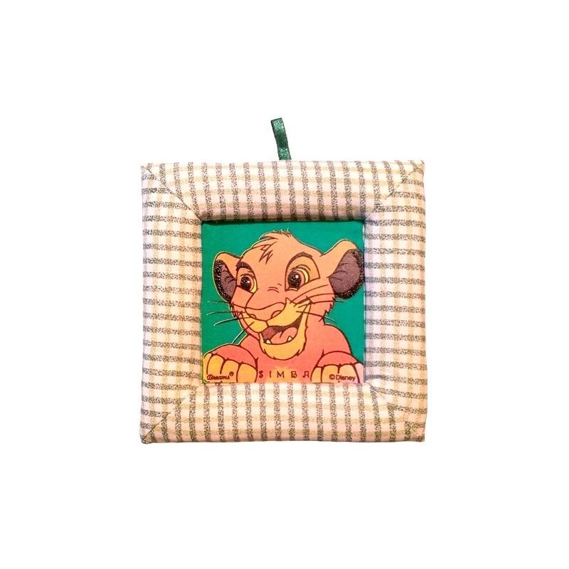 Tablou textil pentru perete Simba Disney Lion King, carouri verde