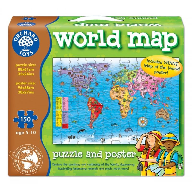 Puzzle Si Poster Harta Lumii (limba Engleza 150 Piese) World Map Puzzle & Poster