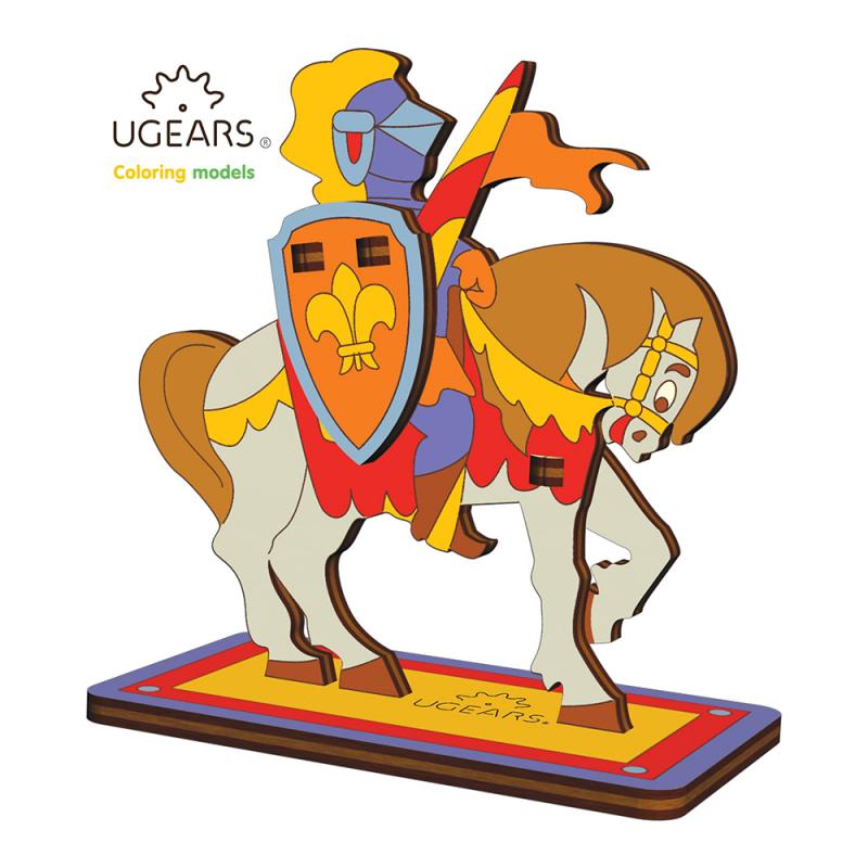 cavaler - puzzle 3d de colorat pentru copii