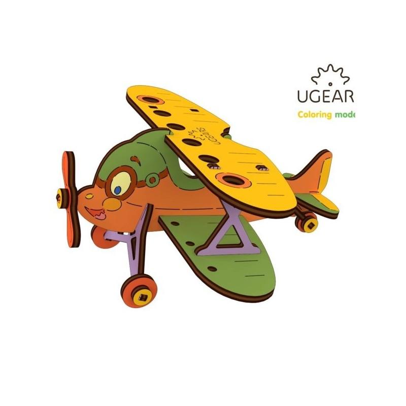avion - puzzle 3d de colorat pentru copii