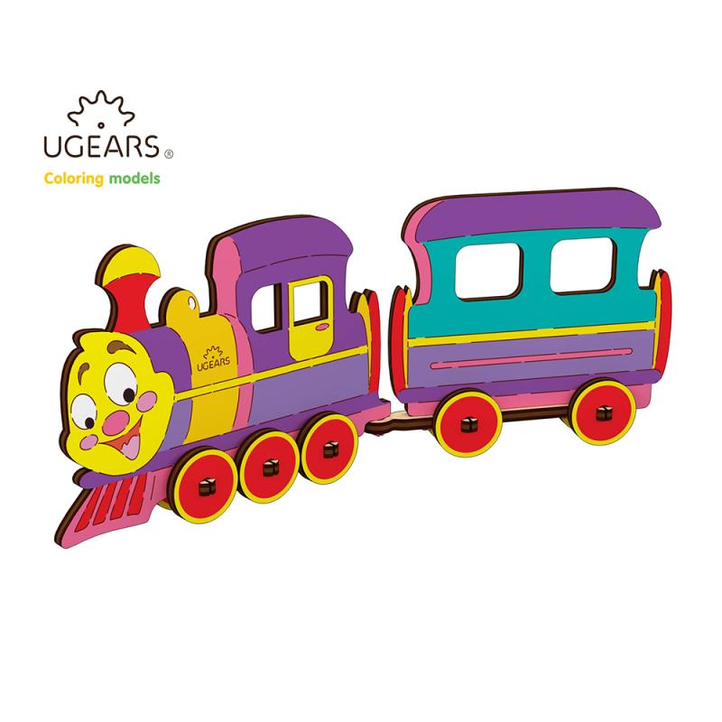 locomotiva - puzzle 3d de colorat pentru copii