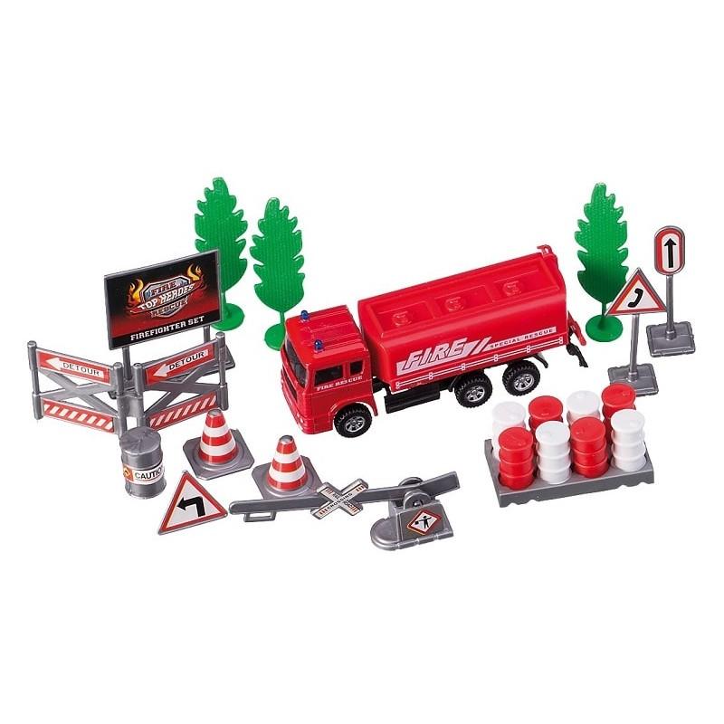 set masina pompieri rosie cu accesorii, happy people
