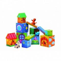 Cuburi de construit cu animale Cubanimo Djeco