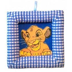Tablou textil pentru perete Simba Disney Lion King, carouri albastru
