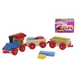 Tren cu cuburi din lemn Eichhorn