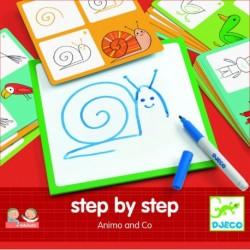 Deseneaza pas cu pas, animale Djeco