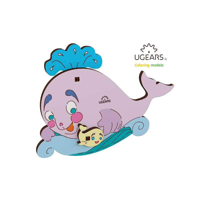 balena - puzzle 3d de colorat pentru copii