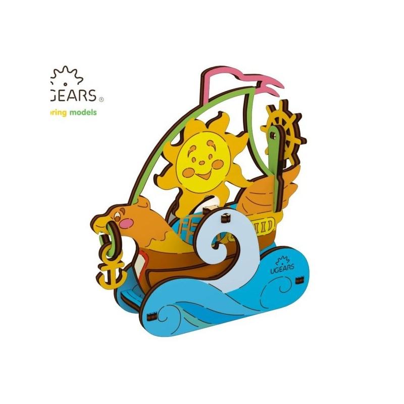 sailboat - puzzle 3d de colorat pentru copii