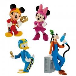Set 4 figurine Mickey si pilotii de curse