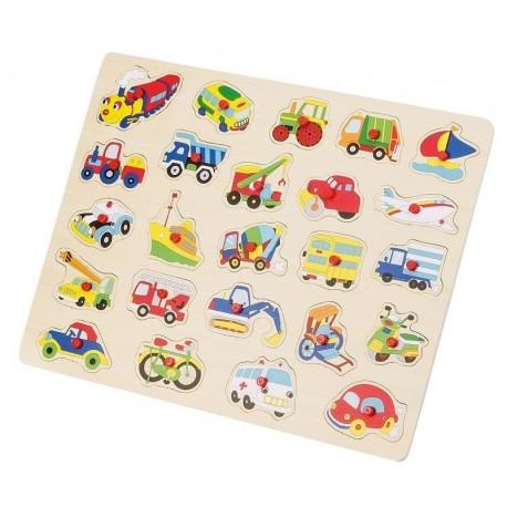 Puzzle Maxi Vehicule 24 piese detasabile plansa lemn, Happy People